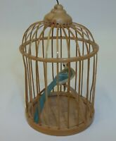 Vintage Tropical Bird in Rattan Cage Christmas Ornament