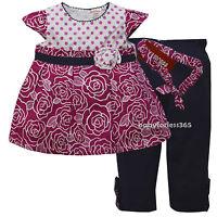 NWT Gymboree Baby Girls Shirt legging Matching Headband Outfit Size 3 6 9 months