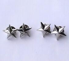 1 Pair Silvery Metal U.S. Military Two Stars Badge Pin Insignia US Army Souvenir