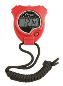 Champion Sports Running Walking Stop Watch-Stopwatch-Alarm-Red Red