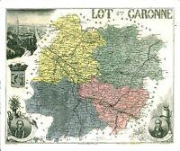 Réédition de gravure ancienne carte région département français Lot et Garonne