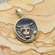 Bull Coin Pendant, Taurus, Sterling Silver - Greek Animal Cow/Bull & Crab