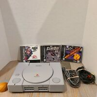 PS1 Playstation 1 One System SCPH-7501 Tested w/ 3 Games + Cords + Memory Card