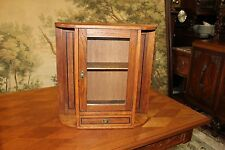 English Arts & Crafts Oak Wood Office Medicine Cabinet Small Bathroom Chest