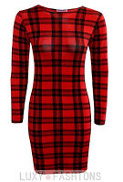 Ladies/Womens Tartan Check Print Long Full Sleeve Tunic Bodycon Short Dress Top