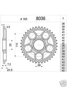 8036 Corona in Acciaio Ducati Multistrada 1000 796 848 916 992 996 998 da 41