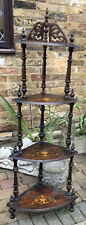 More details for antique victorian walnut whatnot set shelves corner stand inlaid tier decoration