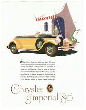 """LUXURIOUS CAR CHRYSLER IMPERIAL 80 1920's 8"""" X 10"""" Repro Magazine Ad AD2"""