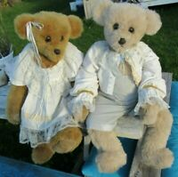 VINTAGE TEDDY BEAR LOT PAIR DRESSED DOLL 2 BEARS RARE ARTIST EX BEAR IN MIND 35""