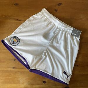 Man City Puma White and Purple Tillandsia shorts. Kids XXL 15-16 yrs