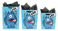 Boys Gift Bag Birthday Kids Tissue Paper XL Large Medium Wrap Set Blue Monsters