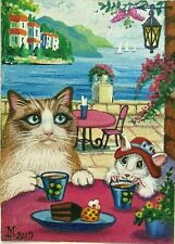 Original Aceo Ryta Ragdoll Cat Painting Miniature Art Mouse Tea Cafe Seascape Hp