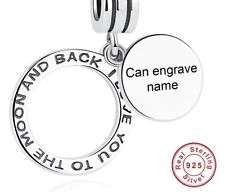 ENGRAVED PERSONALISED MOON AND BACK CHARM LOVE S925 GENUINE  STERLING SILVER
