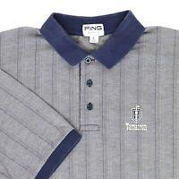 "VTG 80s Ping Men Large 46"" Tamarron Golf Polo Shirt USA Cotton Blue Tan Stripe"