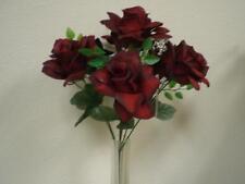"2 Bushes BLACK RED Open Roses Artificial Silk Flowers 15"" Bouquet 7-039BKRD"