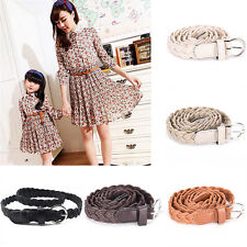 Charm Leather Weave Belts Women Braided Belt Slim Casual Waistband Girdle 5RZ