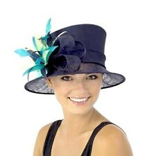 New Ladies JENDI NAVY Blue Formal Spring Racing Oaks Wedding HAT~ Green trim