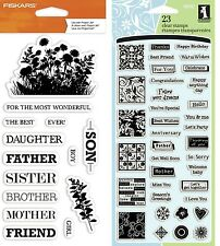 2 Sets Sentiments Stamps - Greetings - Relatives - Mother, Father, Daughter, Son