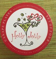 Holly Jolly Canape Appetizer Christmas PlatesSet/4 NIB Certified International