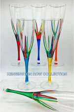 """Positano"" Champagne Flutes - Set/6 - Hand Painted Venetian Glassware"