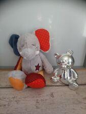 Doudou peluche éléphant gris gris jaune rouge etoile Tao Tape à l'œil etat neuf