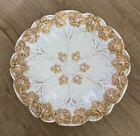 Antique Meissen Porcelain Gold Gilt Grape Leaves Rococo Shallow Bowl Plate Dish