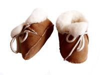 chaussons fourrés bébé camel peau de mouton retournée - tannage naturel