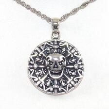 "Sterling Silver Pirate's Treasure Skull Crossbone Anchor Pendant Necklace 24"""