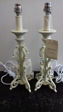 LAURA ASHLEY ROCHELLE CREAM CAST PAIR OF METAL TABLE LAMPS  NEW  HALF PRICE !!!
