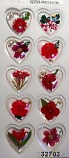 Red Series Real Pressed Flower Craft Dome Stickers
