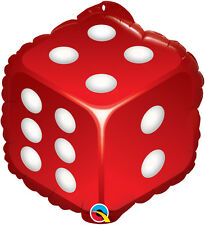 """CASINO PARTY SUPPLIES BALLOON 18"""" DICE 2-SIDED SPECIAL SHAPE QUALATEX BALLOON"""