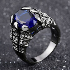 Gold Filled Fashion Mens Wedding Rings Size 11 Blue Sapphire Solitaire Black 18K