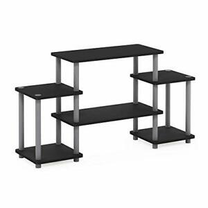Furinno Turn-N-Tube No Tools Entertainment TV Stands Black/Grey