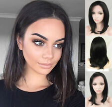 AU STOCK Short Bob Natural Black Lace Front Wig Heat Resistant Synthetic Hair