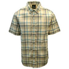 prAna Men's Beige Blue Brown Plaid S/S Woven Shirt (S09)
