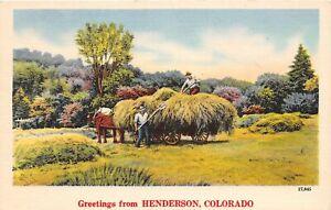 H67/ Henderson Colorado Linen Postcard Greetings from Henderson Colo  3
