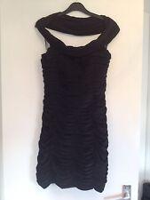 BNWT Ladies SHERRI HILL Black Ruched Off-shoulder Sexy Mini Dress - Size 8