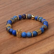 New Man's Pave CZ Cube Crown Bracelet 8MM Aquamarine Stone Bead Bracelets Gift