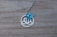 Lotus Flower Necklace, Yoga Necklace, Yogi Gift, Silver Tone, Spiritual Jewelry