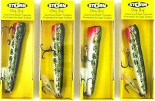 """(4) Storm Lures 3 1/4"""" Chug Bug Jerkbait Lot Green Frog Pre-Rapala New In Pack"""