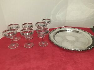"""Vtg Oneida 15"""" Round Silverplate Serving Tray with 7 goblets glass plate trim"""