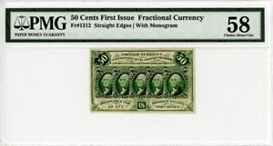 FR. 1312 Five stamps obverse. 50c PMG About Unc 58 - First Issue
