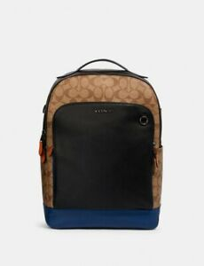 NWT COACH Graham Men's Backpack in Colorblock Signature Canvas 89940 MSRP $550