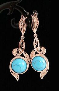 BLUE TURQUOISE 14k ROSE GOLD FILLED 925 STERLING SILVER LONG DANGLE EARRINGS