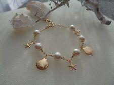 Gold Armband, Bettelarmband mit  Perlen und Ozean-Charms,sehr edel!