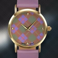 Rousseau Ladies Watch, Purple Plaid, Warranty, Swarorvski Crystals
