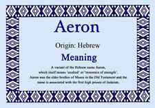 Aeron Personalised Name Meaning Certificate