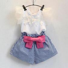 2PCS Toddler Kids Baby Girl Outfits T-shirt Tops + Pants Trousers Clothes Set