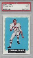 1964 Topps football card 74 Freddy Glick, Houston Oilers graded PSA NM 7