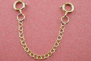 """9ct Gold Chain Extender / Safety Chain Bracelet Necklace 1"""" to 8"""" Two Bolt Rings"""
